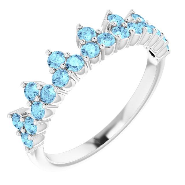 14K White Aquamarine Crown Ring