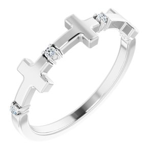 Sterling Silver .05 CTW Diamond Cross Ring
