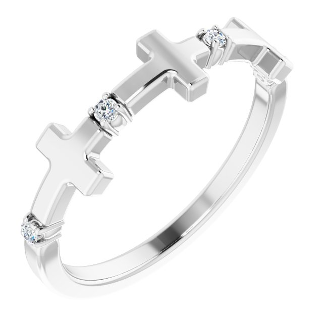 14K White .05 CTW Diamond Cross Ring