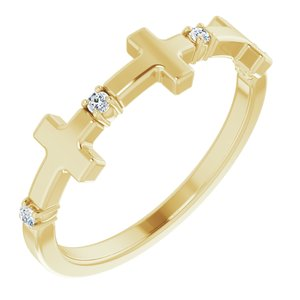 14K Yellow .05 CTW Diamond Cross Ring