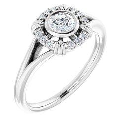 Halo-Style Bezel Set Ring