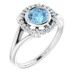 Bezel-Set Halo-Style Ring