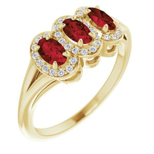 14K Yellow Mozambique Garnet & 1/6 CTW Diamond Ring
