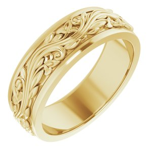 14K Yellow 7 mm Sculptural-Inspired Band Size 10.5