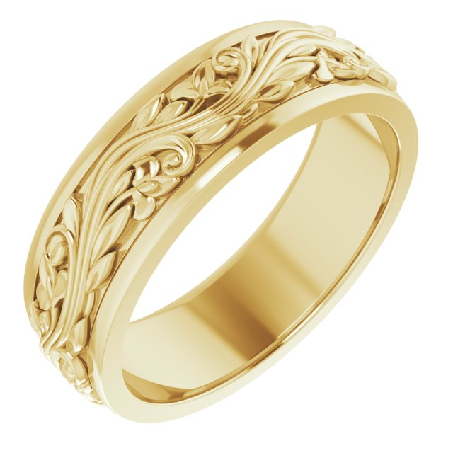14K Yellow 7 mm Sculptural-Inspired Band Size 11.5