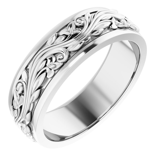 14K White 7 mm Sculptural-Inspired Band Size 11