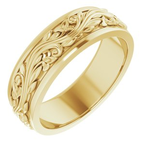14K Yellow 7 mm Sculptural-Inspired Band Size 11