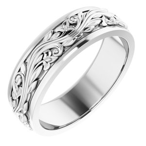 Sterling Silver 7 mm Sculptural-Inspired Band Size 8.5