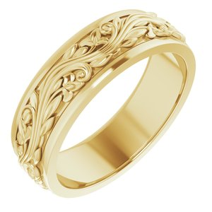 14K Yellow 7 mm Sculptural-Inspired Band Size 12