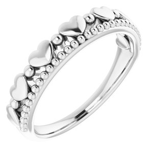 14K White Stackable Beaded Heart Ring