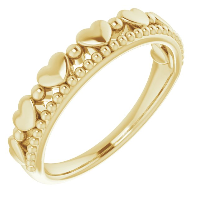 14K Yellow Stackable Beaded Heart Ring