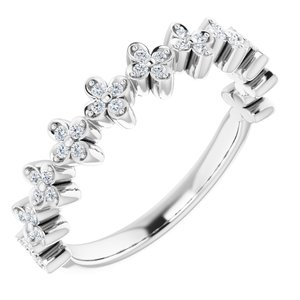 Sterling Silver 1/6 CTW Diamond Stackable Clover Ring