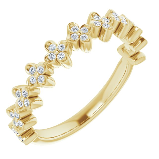 14K Yellow 1/6 CTW Diamond Stackable Clover Ring