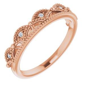 14K Rose .04 CTW Diamond Crown Ring