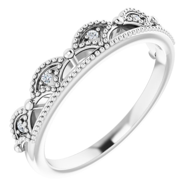 Sterling Silver .04 CTW Diamond Crown Ring