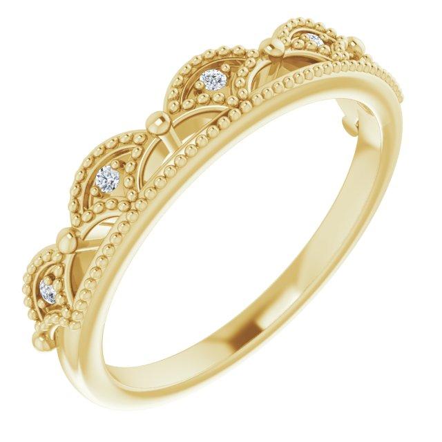 14K Yellow .04 CTW Diamond Crown Ring