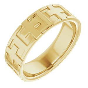 14K Yellow 7 mm Cross Band Size 11