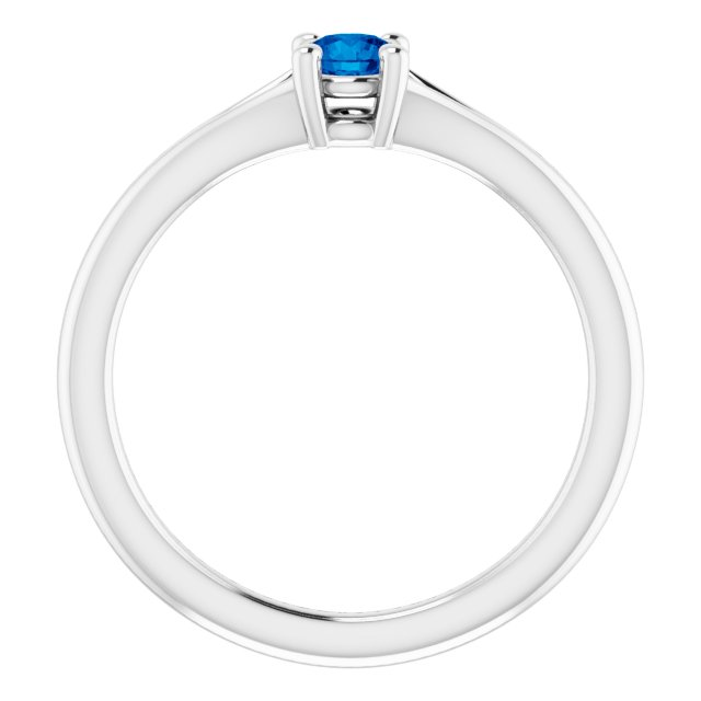 Sterling Silver Lab-Grown Blue Sapphire Youth Solitaire Ring