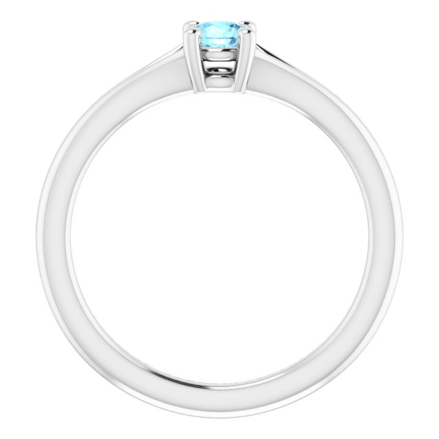 Sterling Silver Imitation Aquamarine Youth Solitaire Ring