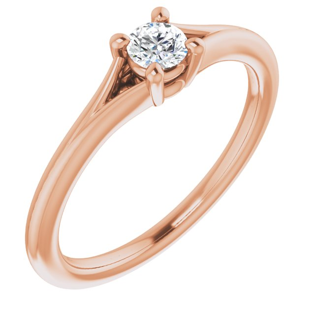 14K Rose 1/10 CT Diamond Youth Solitaire Ring