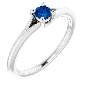Sterling Silver Chatham® Lab-Created Blue Sapphire Youth Solitaire Ring