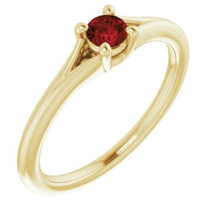 14K Yellow Mozambique Garnet Youth Solitaire Ring