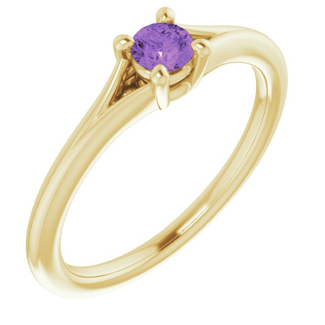 14K Yellow Amethyst Youth Solitaire Ring