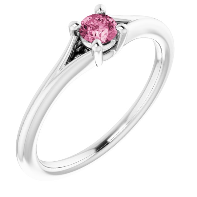 Sterling Silver Imitation Pink Tourmaline Youth Solitaire Ring