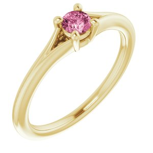 14K Yellow Pink Tourmaline Youth Solitaire Ring
