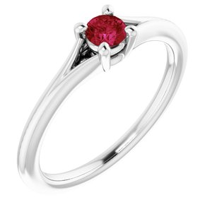 14K White Lab-Grown Ruby Youth Solitaire Ring