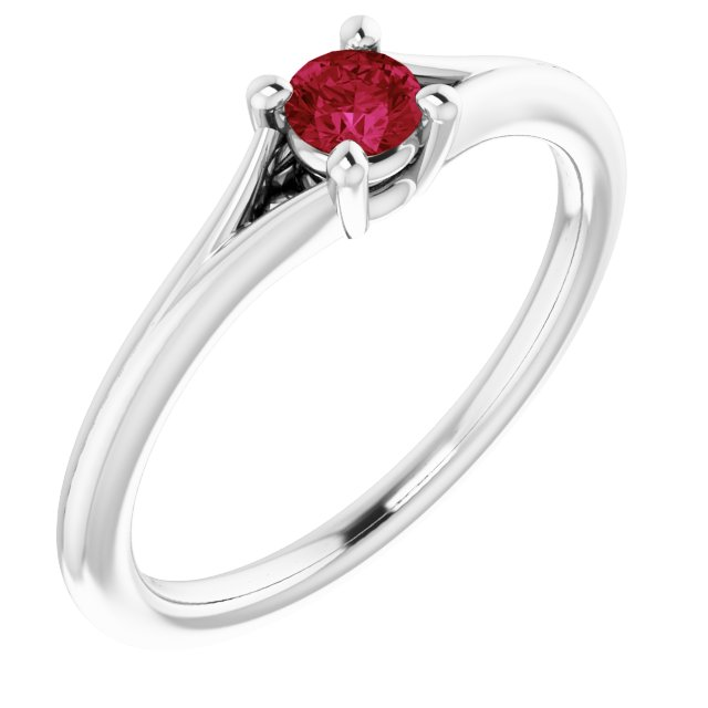 14K White Chatham® Lab-Created Ruby Youth Solitaire Ring