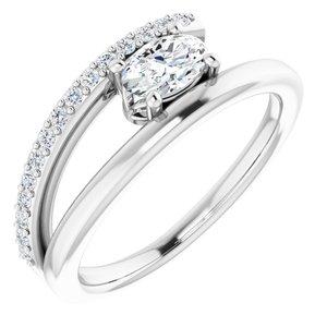 14K White Sapphire & 1/8 CTW Diamond Ring