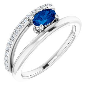 14K White Chatham® Lab-Created Blue Sapphire & 1/8 CTW Diamond Ring