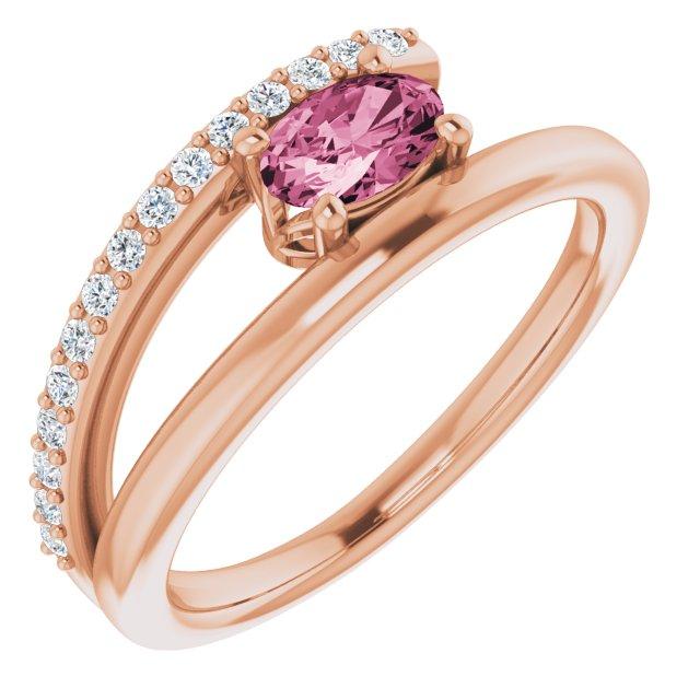 14K Rose Tourmaline & 1/8 CTW Diamond Ring