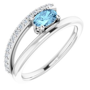 14K White Aquamarine & 1/8 CTW Diamond Ring