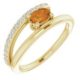14K Yellow Citrine & 1/8 CTW Diamond Ring