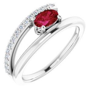 14K White Chatham® Lab-Created Ruby & 1/8 CTW Diamond Ring