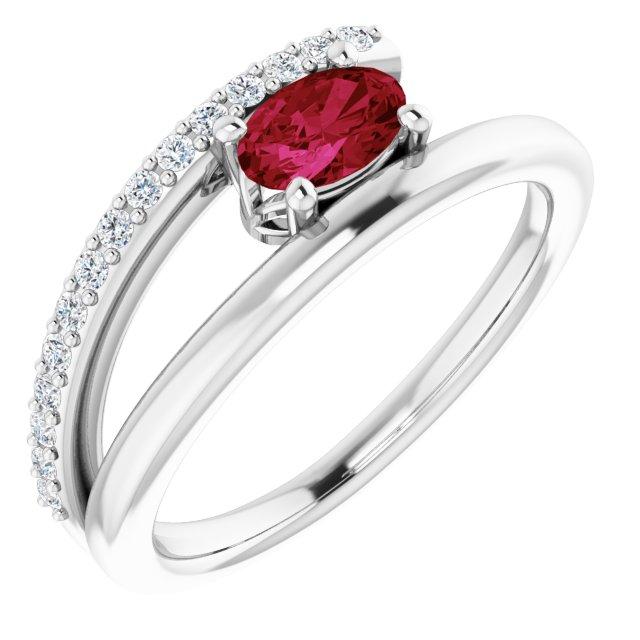 14K White Lab-Grown Ruby & 1/8 CTW Diamond Ring