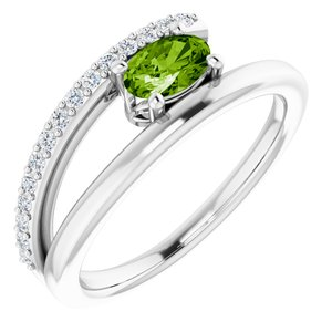 14K White Peridot & 1/8 CTW Diamond Ring