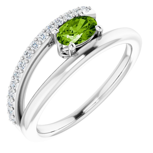 14K White Peridot & 1/8 CTW Diamond Ring