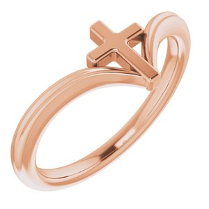 14K Rose Cross Ring