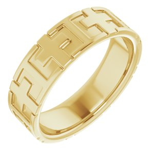 14K Yellow 7 mm Cross Band Size 12