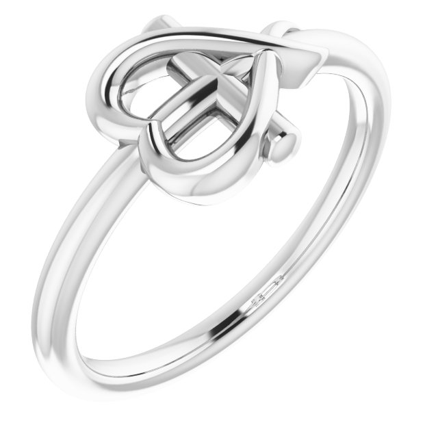 Sterling Silver Cross with Heart Youth Ring