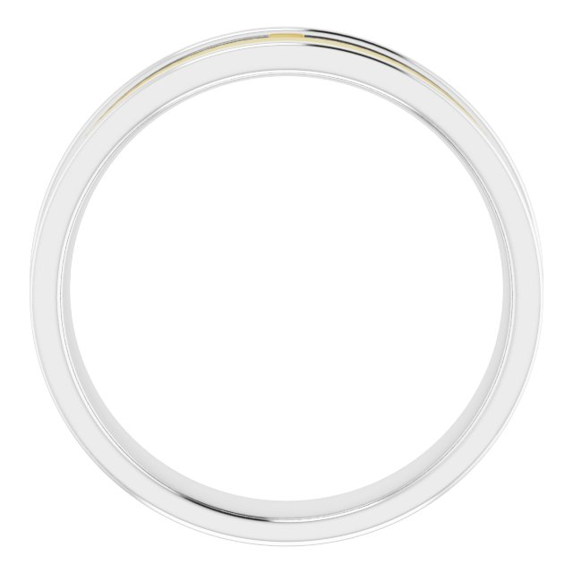 14K White/Yellow 6 mm Cross Band Size 11