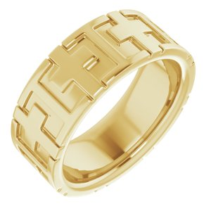 14K Yellow 7 mm Cross Band Size 5.5