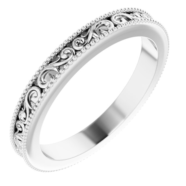 14K White 2.5 mm Sculptural-Inspired Band Size 4.5