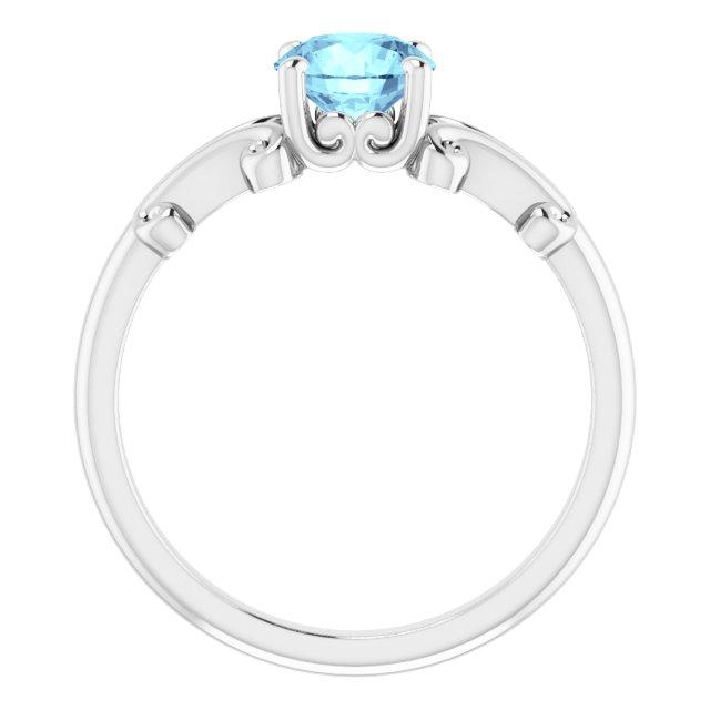 14K White 6 mm Round Aquamarine Ring