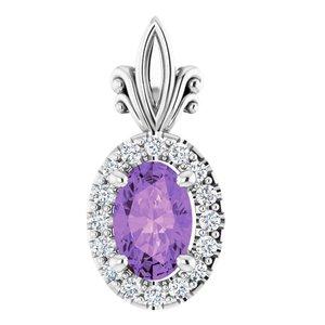 14K White Amethyst & .08 CTW Diamond Pendant