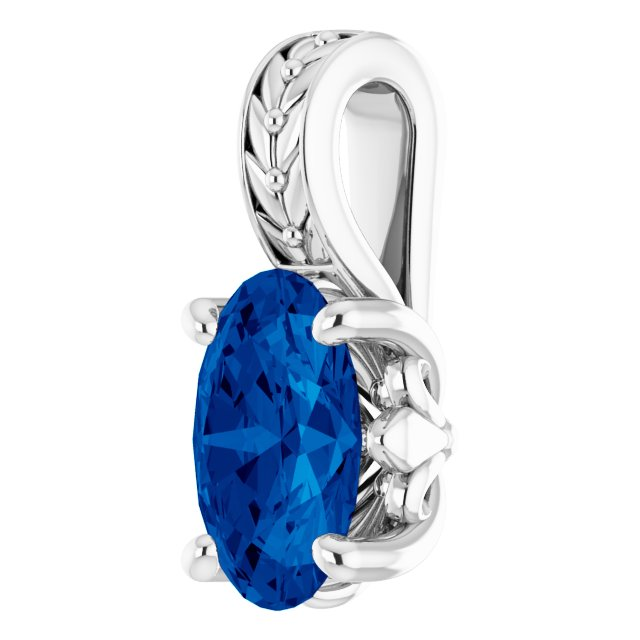 14K White Lab-Grown Sapphire Pendant