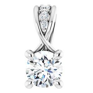 14K White 1/4 CTW Diamond Pendant